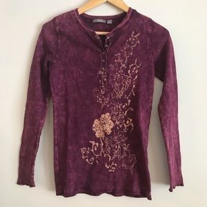 Apt 9 - Gold Embellished Purple Thermal - Small